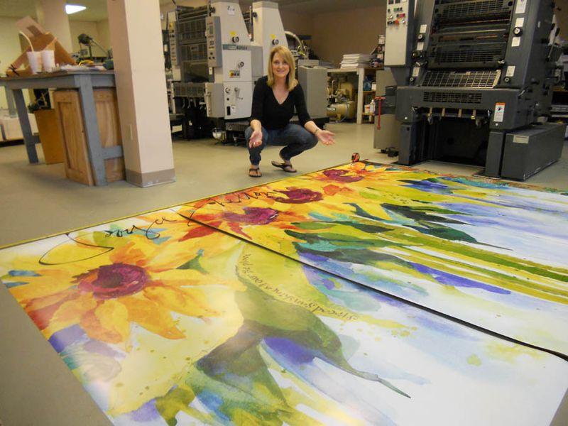 Sunflowers on floor